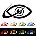 Swoosh eye icons with graphic elements Royalty Free Stock Images
