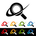 Swoosh magnifying glass icons with graphic elements Royalty Free Stock Photography
