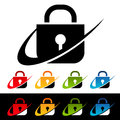 Swoosh security lock icons with graphic elements Royalty Free Stock Images