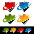 Swoosh shield icons with graphic elements Royalty Free Stock Photos