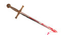 Sword with blood isolated on white background Stock Photos