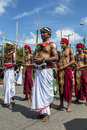 Sword Carriers at attention at the Hikkaduwa perahera on the east coast of Sri Lanka. Royalty Free Stock Photo