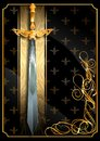 Sword of the fantasy world on a rich background. Royalty Free Stock Photo