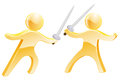 Sword fight concept of two gold men fighting with swords Stock Image