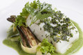 Sword fish fillet poached swordfish with squash puree and herbs Royalty Free Stock Photography