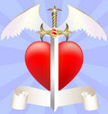 Sword and heart Royalty Free Stock Photography