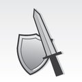 Sword and shield resting against one another Royalty Free Stock Image