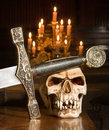 Sword and skull Stock Photos