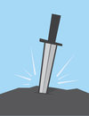 Sword stuck in rock large Royalty Free Stock Images