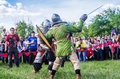 The swordfight heavily armed medieval warriors