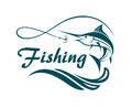 Swordfish fishing emblem
