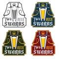 Swords beer vintage labels set two Stock Photography
