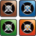 Swords and shield on checkered web buttons Royalty Free Stock Photo