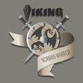 Swords and shield with the dragon. Viking.