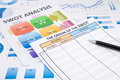 SWOT analysis document, flow chart and business graphs Royalty Free Stock Photo