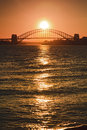 Sy Bridge Sunset Sun Vert Royalty Free Stock Photography
