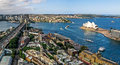 Sydney Harbour Bridge and Opera House from above The Rocks Royalty Free Stock Photo
