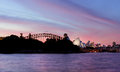 Sydney australia april pink and red sunset sky over an awesome beautiful harbour opera house harbour bridge cbd Stock Photo