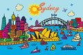 Sydney australia a cartoon style illustration of Royalty Free Stock Photos