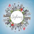 Sydney Australia City Skyline with Gray Buildings, Blue Sky and