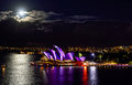 Sydney australia june top view of the sydney opera h house illuminated with colourful light design imagery during vivid Royalty Free Stock Image