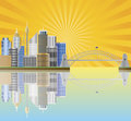 Sydney Australia Skyline Sun Rays Illustration Royalty Free Stock Images