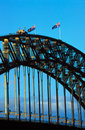Sydney bridge and flags Royalty Free Stock Photos