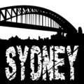 Sydney bridge with grunge text Royalty Free Stock Images