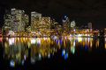 Sydney cbd darling harbor night scape australia july and reflection Stock Photography