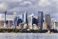 Sydney cbd day tele australian landmark city high rises and towers forming megapolis cityscape summer from harbour Stock Photography
