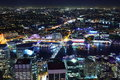 Sydney cityscape at night of by with aerial view towards popular darling harbour Royalty Free Stock Photography