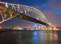 The sydney harbor bridge frames a view of downtown at twilight Stock Image