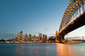 Sydney harbor bridge at night Royalty Free Stock Photography