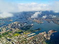 Sydney harbour aerial landscape photo of from an extremely high view point shows both bridge and opera house Royalty Free Stock Photography