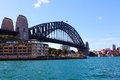 Sydney harbour bridge australia looking northward from the rocks to park hyatt in foreground autumn day mid afternoon Stock Image