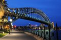 Sydney harbour bridge in australia at night Royalty Free Stock Images