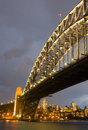 Sydney harbour bridge at dusk in australia Stock Photography