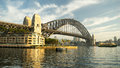 Sydney harbour bridge the early morning view of the as viewed from the rocks a ferry is also visible in the view Royalty Free Stock Photos