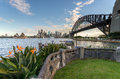 Sydney harbour and the bridge with lawn bird of paradise garden on foreground Stock Photos