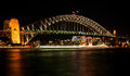 Sydney harbour bridge at night this is a photograph of the taken from the opera house Royalty Free Stock Photography