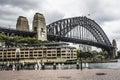 Sydney harbour bridge in a quiet spring sunrise in sydney austr australia Stock Photo