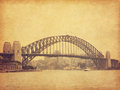 Sydney harbour bridge in retro style australia added paper texture toned image Stock Photo