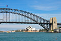 Sydney harbour bridge and sydney opera house march climbers on in the background on march in australia Royalty Free Stock Photography