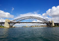 Sydney harbour bridge taken during the day with blue sky Royalty Free Stock Images