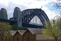 Sydney harbour bridge a view of from the rocks area Stock Photography