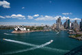 Sydney-October 2009 : Sydney harbor look from Harbour bridge. Stock Photos