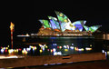 Sydney Opera House, Australia, coloured lights Royalty Free Stock Photos