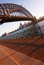 Sydney Opera House and Harbour Bridge at sundown Royalty Free Stock Photo
