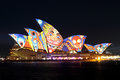 Sydney opera house on vivid sydney the customs during is an annual festival of music idea and light in Royalty Free Stock Photo