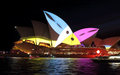 Sydney opera house during vivid sydney with toucans australia may illuminated colourful animated imagery the annual public event Stock Photo